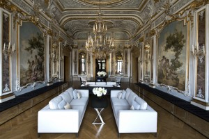 The magnificent Piano Nobile Lounge at the Aman Canal Grande