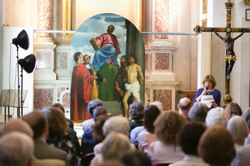 Amalia Donatella Basso from the Superintendency of Fine Arts of Venice presents at the Inauguration of Titian's Saint Mark Enthroned on Friday, June 19, 2015 Photo by Matteo De Fina