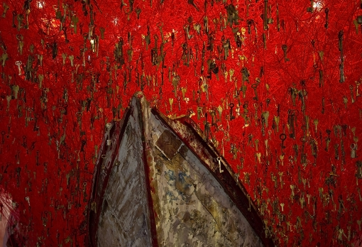 Under the red sky: Chiharu Shiota's installation The Key in the Hand.